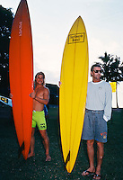 Mark Occhilupo (AUS) and Wayne Rabbit Bartholomew (AUS) at the opening ceremony for the 1989  Quiksilver in Memory of Eddie Aikau  held at Wiamea Bay, North Shore Oahu, Hawaii. Photo:joliphotos.com
