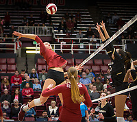 Stanford, CA - October 18, 2019: Madeleine Gates at Maples Pavilion. The No. 2 Stanford Cardinal swept the Colorado Buffaloes 3-0.