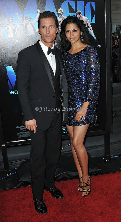 "Matthew McConaughey and wife Camila Alves arriving at the 2012 Los Angeles  Film Festival closing night gala world premiere of ""Magic Mike"" held at Regal Cinemas LA LIVE June 24, 2012"