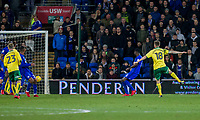 Marco Stiepermann of Norwich City scores his side's first goal during the Sky Bet Championship match between Cardiff City and Norwich City at the Cardiff City Stadium, Cardiff, Wales on 1 December 2017. Photo by Mark  Hawkins / PRiME Media Images.