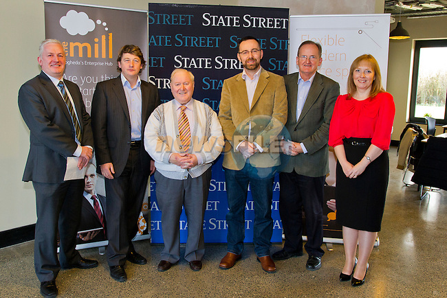 The Mill, Enterprise Centre, in Drogheda, is visited by Deirdre Ann Roche and Stephen Johnston, of IFS.<br /> Pictured, Left to right, are Stephen Johnston (IFS), Mark Markey (Director, The Mill), Eugene Kierans (Director, The Mill), Graham O Rourke (Chairman, Drogheda Enterprise Centre), Sean MacEntee (Project Manager, The Mill) and Deirdre Ann Roche (IFS).<br /> Picture: Shane Maguire / www.newsfile.ie