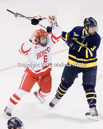 Joe Pereira (BU - 6), Kyle Bigos (Merrimack - 3) - The Boston University Terriers defeated the Merrimack College Warriors 3-0 on Sunday, March 14, 2010, at Agganis Arena in Boston, Massachusetts, to win their Hockey East Quarterfinals matchup 2-1.