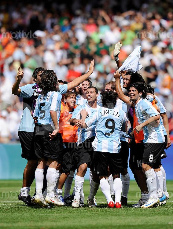 Olympia 2008  Peking  Fussball  Finale   Maenner   23.08.2008 Nigeria - Argentinien Schlussjubel Argentinien.