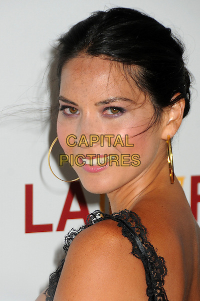 "Olivia Munn.""Magic Mike"" Los Angeles Film Festival 2012 Premiere held at Regal Cinemas LA Live, Los Angeles, California, USA..June 24th, 2012.headshot portrait black lace gold hoop earrings side.CAP/ADM/BP.©Byron Purvis/AdMedia/Capital Pictures."