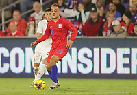 ORLANDO, FL - NOVEMBER 15: Sergino Dest #18 of the United States turns and moves with the ball during a game between Canada and USMNT at Exploria Stadium on November 15, 2019 in Orlando, Florida.