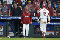 Arkansas Razorbacks head coach Dave Van Horn lets the home plate umpire know he does not like his strike zone during the game against the Baylor Bears in game nine of the 2020 Shriners Hospitals for Children College Classic at Minute Maid Park on March 1, 2020 in Houston, Texas. The Bears defeated the Razorbacks 3-2. (Brian Westerholt/Four Seam Images)