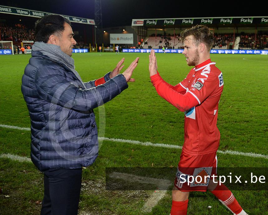 KV Kortrijk - RSC Anderlecht : Johan Walem viert met Kristof D'Haene (r)<br /> Foto VDB / Bart Vandenbroucke