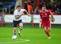 Preston North End's Jordan Hugill under pressure from Accrington Stanley's Mark Hughes<br /> <br /> Photographer Kevin Barnes/CameraSport<br /> <br /> The Carabao Cup - Accrington Stanley v Preston North End - Tuesday 8th August 2017 - Crown Ground - Accrington<br />  <br /> World Copyright &copy; 2017 CameraSport. All rights reserved. 43 Linden Ave. Countesthorpe. Leicester. England. LE8 5PG - Tel: +44 (0) 116 277 4147 - admin@camerasport.com - www.camerasport.com