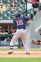 Derrik Gibson (16) of the Pawtucket Red Sox at bat against the Charlotte Knights at BB&T Ballpark on August 8, 2014 in Charlotte, North Carolina.  The Red Sox defeated the Knights  11-8.  (Brian Westerholt/Four Seam Images)