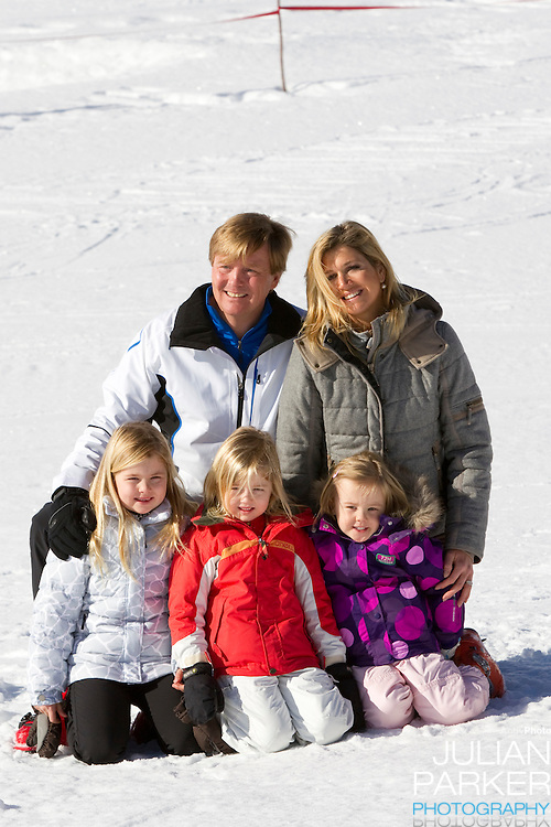 Crown Prince Willem Alexander, and Crown Princess Maxima of Holland with Daughters, Princess Alexia ( centre ), Princess Catharina Amalia ( left ) and Princess Ariane ( right ) attend a Photocall with Members of The Dutch Royal Family during their Winter Ski Holiday in Lech Austria
