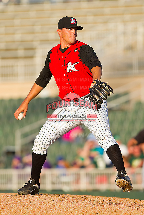 Relief pitcher Chase Cooney #23 of the Kannapolis Intimidators in action against the Hickory Crawdads at Fieldcrest Cannon Stadium on April 17, 2011 in Kannapolis, North Carolina.   Photo by Brian Westerholt / Four Seam Images