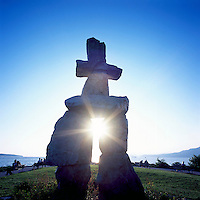 """The Inukshuk at English Bay, in the West End of Vancouver, British Columbia, Canada.  Artist """"Alvin Kanak""""."""