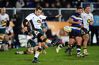 Stephen Myler of Northampton Saints puts boot to ball. Aviva Premiership match, between Bath Rugby and Northampton Saints on February 10, 2017 at the Recreation Ground in Bath, England. Photo by: Patrick Khachfe / Onside Images
