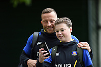 Max Lahiff of Bath Rugby poses for a selfie with a supporter prior to the match. Gallagher Premiership match, between Bath Rugby and Wasps on May 5, 2019 at the Recreation Ground in Bath, England. Photo by: Patrick Khachfe / Onside Images