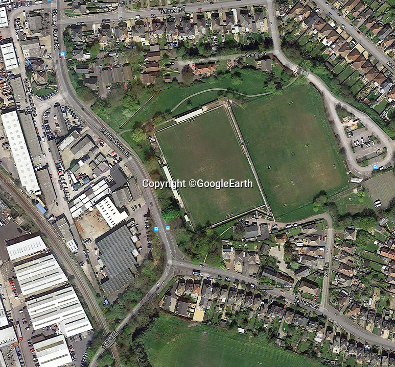 BNPS.co.uk (01202 558833)<br /> Pic: GoogleEarth<br /> <br /> Google Earth view of the Poole town ground <br /> <br /> Enterprising home boss Tommy Killick watches the game from the attic window of his groundsman's house, after receiving a 6 match ban from the dugout.