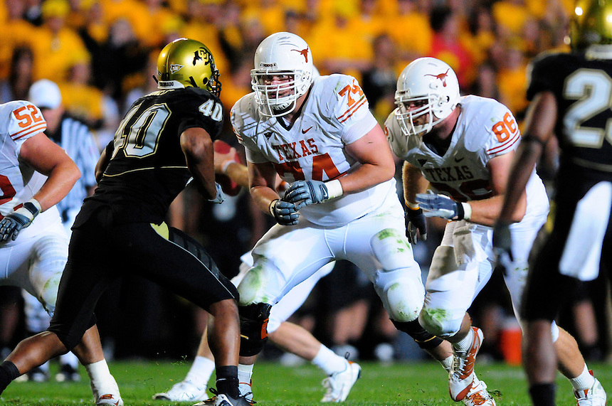 04 October 2008: Texas tackle Adam Ulatoski lines up against Colorado linebacker Brad Jones. The Texas Longhorns defeated the Colorado Buffaloes 38-14 at Folsom Field in Boulder, Colorado. For Editorial Use Only