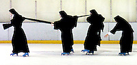 Sisters of the Norwood and Minnesota convents of the Daughters of Mary, Mother of Our Savior congregation ice skate at the Northern Kentucky Ice Center in Crescent Springs on Friday, November 26, 2004. The Minnesota congregation is visiting for Thanksgiving.