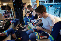 Bjorn Thurau (DEU/Wanty-Groupe Gobert) getting ready inside the WGG teambus at the start<br /> <br /> 102nd Li&egrave;ge-Bastogne-Li&egrave;ge 2016