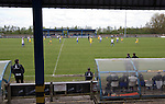 Vauxhall Motors FC 0 Solihull Moors 2, 26/04/2014. Rivacre Park, Conference North. First-half action during Vauxhall Motors (in white) play Solihull Moors at Rivacre Park in the final Conference North fixture of the season. It was to be the last match for the Ellesmere Port-based home club, named after the giant car factory in the town, who have resigned from the professional pyramid system to return to local amateur football due to spiralling costs and low attendances. Their final match resulted in a 2-0 home defeat, watched by a crowd of only 215. Photo by Colin McPherson.