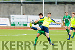 Kerry's Martin Coughlan and Evan O'Sullivan of  Cobh Ramblers tussle for possession in the SSE Airtricity U19 League in Mounthawk Park on Sunday