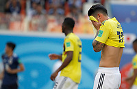 SARANSK - RUSIA, 19-06-2018: James RODRIGUEZ jugador de Colombia luce decepcionado después del partido de la primera fase, Grupo H, entre Colombia y Japón por la Copa Mundial de la FIFA Rusia 2018 jugado en el estadio Mordovia Arena en Saransk, Rusia. / James RODRIGUEZ player of Colombia looks disappointed after the match between Colombia and Japan of the first phase, Group H, for the FIFA World Cup Russia 2018 played at Mordovia Arena stadium in Saransk, Russia. Photo: VizzorImage / Julian Medina / Cont