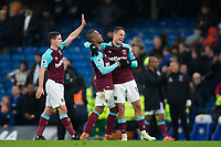 West Ham United's Javier Hernandez celebrates with team mate Patrice Evra at full time <br /> <br /> Photographer Craig Mercer/CameraSport<br /> <br /> The Premier League - Chelsea v West Ham United - Sunday 8th April 2018 - Stamford Bridge - London<br /> <br /> World Copyright &copy; 2018 CameraSport. All rights reserved. 43 Linden Ave. Countesthorpe. Leicester. England. LE8 5PG - Tel: +44 (0) 116 277 4147 - admin@camerasport.com - www.camerasport.com
