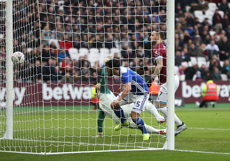 West Ham United's Marko Arnautovic scores his side's first goal  <br /> <br /> Photographer Rob Newell/CameraSport<br /> <br /> Emirates FA Cup Third Round - West Ham United v Birmingham City - Saturday 5th January 2019 - London Stadium - London<br />  <br /> World Copyright © 2019 CameraSport. All rights reserved. 43 Linden Ave. Countesthorpe. Leicester. England. LE8 5PG - Tel: +44 (0) 116 277 4147 - admin@camerasport.com - www.camerasport.com