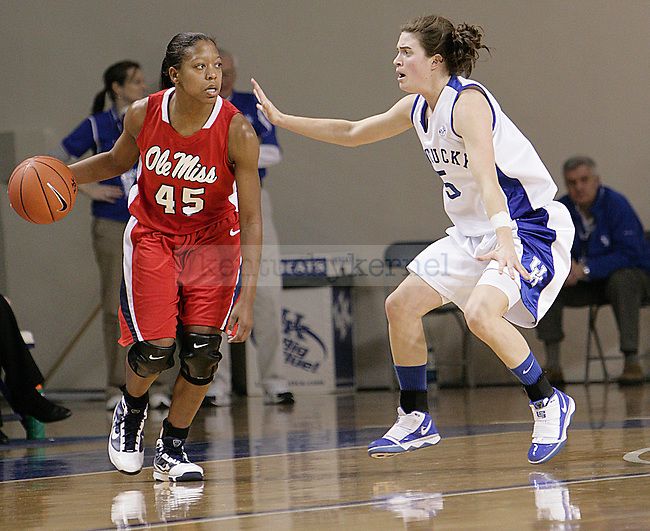 Junior Carly Morrow Guarding a player from Ole miss in first half of UK's game against Ole Miss on Thursday evening. Photo by William Baldon | Staff