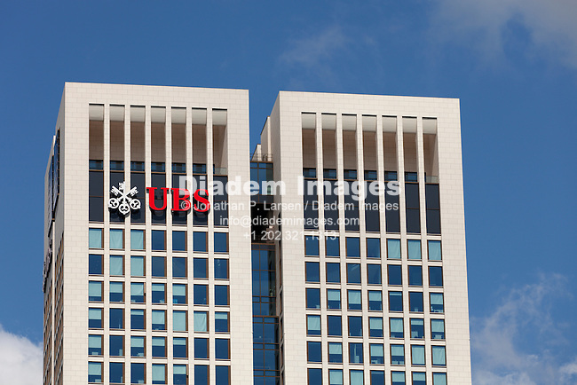 The UBS logo on the side of the OpernTurm skyscraper in Frankfurt, Germany.