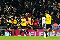 Craig Cathcart of Watford celebrates his goal during the Premier League match between Tottenham Hotspur and Watford at Wembley Stadium, London, England on 30 January 2019. Photo by Adamo Di Loreto.<br /> <br /> Editorial use only, license required for commercial use. No use in betting, games or a single club/league/player publications.