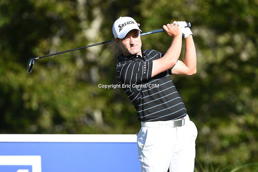 August 29, 2014 -  Norton, Mass. - Russell Knox tees off on the 17th hole during the first round of the PGA Deutsche Bank Championship held at the Tournament Players Club in Norton Massachusetts. Eric Canha/CSM