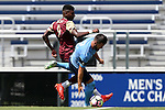 28 August 2016: San Diego's Parker Price (2) and Elon's Jaiden Fortune (9). The Elon University Phoenix played the University of San Diego Toreros at Koskinen Stadium in Durham, North Carolina in a 2016 NCAA Division I Men's Soccer match. USD won the game 2-1.