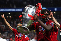 Liverpopol's Divock Origi holds the trophy at the end of the UEFA Champions League final football match between Tottenham Hotspur and Liverpool at Madrid's Wanda Metropolitano Stadium, Spain, June 1, 2019. Liverpool won 2-0.<br /> UPDATE IMAGES PRESS/Isabella Bonotto