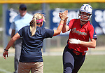 Coronado Head Coach Missy Krueger congratulates Lee Harrison after she hit a home run in  the state championship softball tournament at the University of Nevada, Reno, in Reno, Nev., on Saturday, May 20, 2012. .Photo by Cathleen Allison
