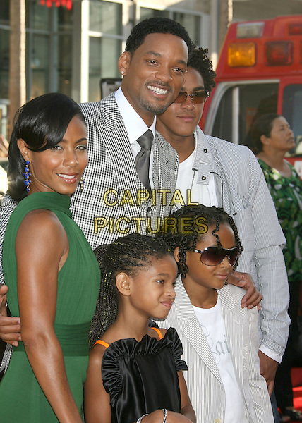 "JADA PINKETT SMITH, WILLOW SMITH, WILL SMITH, JADEN SMITH & TREY SMITH.""Hancock"" Los Angeles Premiere held at the Grauman's Chinese Theatre, Hollywood, California, USA, .30 June 2008..half length black and white checked gingham suit jacket grey gray tie waistcoat plaid green dress kids children family sons daughter.CAP/ADM/MJ.©Michael Jade/Admedia/Capital Pictures"