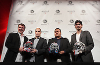 October 30 2012 - Montreal, Quebec, CANADA -  UBISOFT press conference announcing an important partnership with professional goaltender Carey Price.  <br /> SPEAKERS : Yannis Mallat, President and Managing Director, Ubisoft Montréal                       <br /> François Pelland, Senior Producer, Assassin's Creed III                       <br /> Carey Price, Professional Goaltender<br /> Jeyson Acevedo, Public Relations Manager, Ubisoft Canada