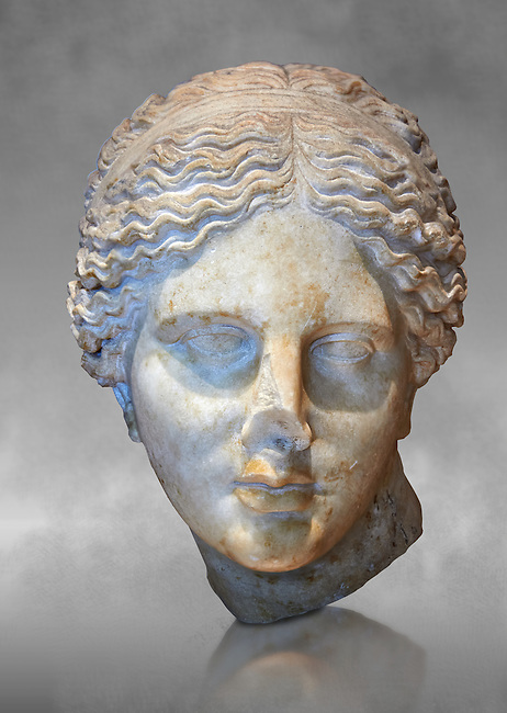 """Roman marble head of Aphrodite (Venus)  known as the """"Kaufmann head"""" once conserved in Berlin. Circa 150 BC found in Asia Minor.  Inv MND 2027 ( or Ma 3518) Louvre Museum, Paris."""