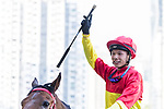 Jockey Victor Wong riding #4 Starlight celebrates after winning race 6 during Hong Kong Racing at Happy Valley Racecourse on October 28, 2018 in Hong Kong, Hong Kong. Photo by Yu Chun Christopher Wong / Power Sport Images