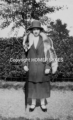 Woman wearing Fox fur stole circa 1920s Uk.  A real photo postcard probably only one copy printed. Never sent.