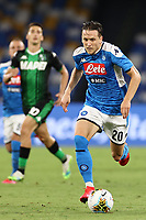 Piotr Zielinski of SSC Napoli<br /> during the Serie A football match between SSC  Napoli and US Sassuolo at stadio San Paolo in Naples ( Italy ), July 25th, 2020. Play resumes behind closed doors following the outbreak of the coronavirus disease. <br /> Photo Cesare Purini / Insidefoto