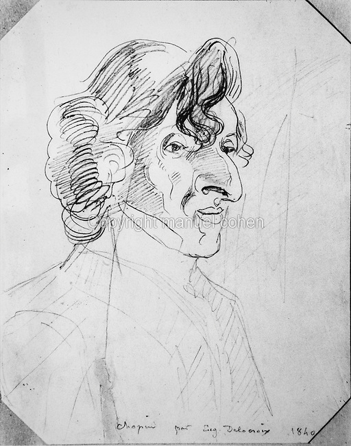 Portrait of Frederic Chopin, 1810-49, Polish Romantic composer, sketch, 1840, by Eugene Delacroix, 1798-1863, French Romantic artist. Copyright © Collection Particuliere Tropmi / Manuel Cohen