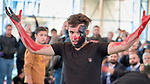 Students from the University of Mosul&rsquo;s arts faculty present a play about the ISIS capture of their city during a November 30, 2018, book festival in Mosul, Iraq. The play focused on how poetry and the arts were curtailed under ISIS control but have flourished in recent months.<br /> <br /> The red hands denotes blood on the hands of this ISIS character.