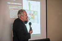 NWA Democrat-Gazette/ANTHONY REYES • @NWATONYR<br /> John Hoal, with H3 Studio Inc., gives a presentation Friday Sept. 18, 2015 about some of the ideas for downtown Springdale at the Arts Center of the Ozarks in Springdale. The event finished a week of public design sessions for the downtown master plan from citizens.