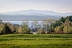 View of Mount Mansfield and the Lake Champlain Islands in South Hero, VT, USA