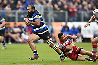 Kane Palma-Newport of Bath Rugby gets past Motu Matu'u of Gloucester Rugby. Aviva Premiership match, between Bath Rugby and Gloucester Rugby on April 30, 2017 at the Recreation Ground in Bath, England. Photo by: Patrick Khachfe / Onside Images