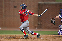 Justin Etts (12) of the NJIT Highlanders follows through on his swing against the High Point Panthers during game two of a double-header at Williard Stadium on February 18, 2017 in High Point, North Carolina.  The Highlanders defeated the Panthers 4-2.  (Brian Westerholt/Four Seam Images)