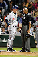 August 7, 2009:  Bench Coach Jeff Datz (29) of the Cleveland Indians argues a call with home plate umpire CB Bucknor during a game vs. the Chicago White Sox at U.S. Cellular Field in Chicago, IL.  The Indians defeated the White Sox 6-2.  Photo By Mike Janes/Four Seam Images