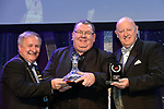 Gareth Maxwell, Ulster Operatic Company Musical Society, winner of the Best Technical /Sullivan Section for their production of &quot;Ghost' receiving the trophy from on left, Colm Moules, President, AIMS and Seamus Power, Vice-President at the Association of Irish Musical Societies annual awards in the INEC, KIllarney at the weekend.<br /> Photo: Don MacMonagle -macmonagle.com<br /> <br /> <br /> <br /> repro free photo from AIMS<br /> Further Information:<br /> Kate Furlong AIMS PRO kate.furlong84@gmail.com