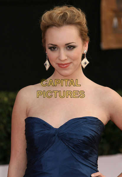ANDREA BOWEN.14th Annual Screen Actors Guild Awards held at the Shrine Auditorium, Los Angeles, California, USA..January 27th, 2008.arrivals SAG half length blue dress strapless white cream square dangling earrings.CAP/ADM/RE.©Russ Elliot/AdMedia/Capital Pictures. *** Local Caption *** .