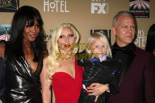 LOS ANGELES, CA - OCTOBER 3: Naomi Campbell, Lady Gaga, Lennon Henry, Ryan Murphy at the Premiere Screening Of FX's American Horror Story: Hotel at Regal Cinemas L.A. Live on October 03, 2015. <br /> CAP/MPI//DE<br /> &copy;DE/MPI/Capital Pictures
